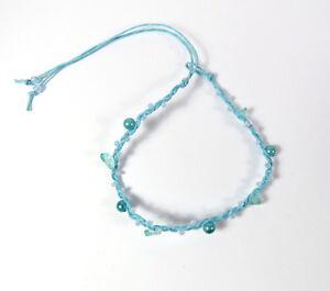 Edles Fußkettchen Tobilleras Fußband Fußschmuck Ankle Chain Blau Perlen Damen