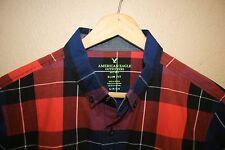 Mens American Eagle pocket plaid short sleeve summer shirt Slim Fit SMALL s