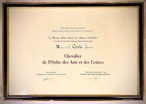 LOUISE-CONTE-Diplome-Chevalier-des-Arts-et-des-Lettres-signe-ANDRE-MALRAUX
