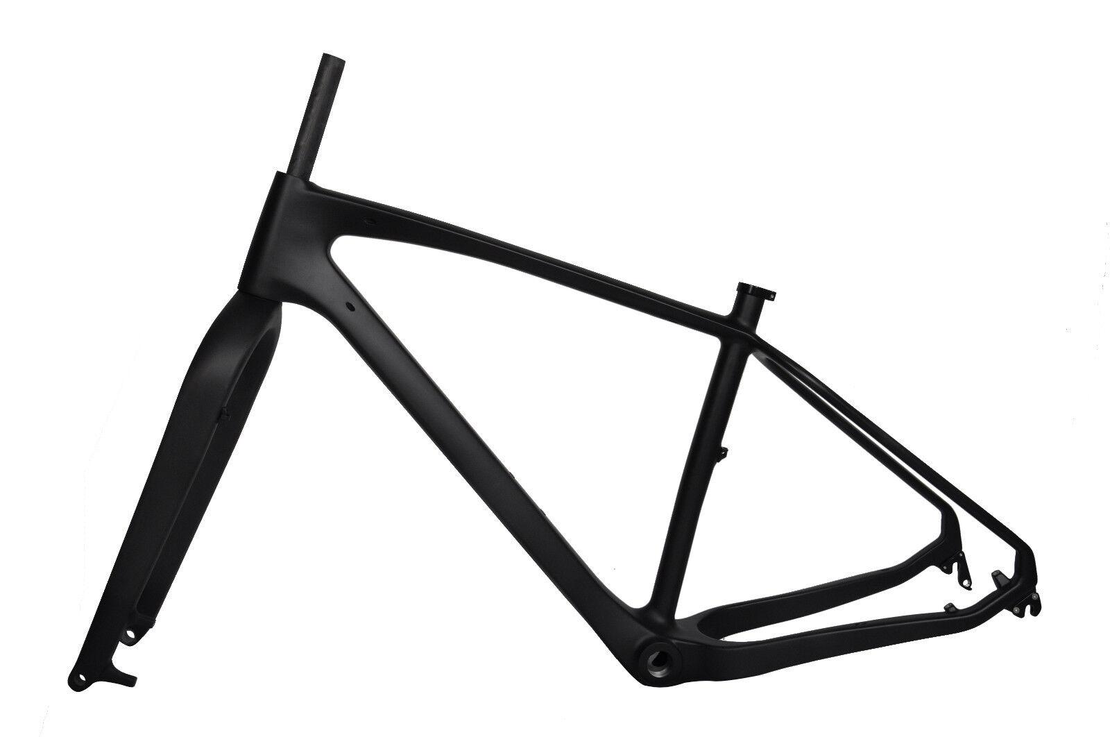 15.5  26er Carbon Fat Bike Frame Fork Snow 150 190 QR BSA UD Matt 4.8  Internal