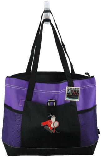 Hair Stylist Mirror Hairspray Monogram Gemline Bag Purple Zipper Salon Tote Gift