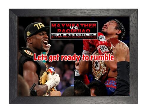 Pacquiao Vs Mayweather 1 Boxing Match Poster Las Vegas Fight Sport on Ring Photo