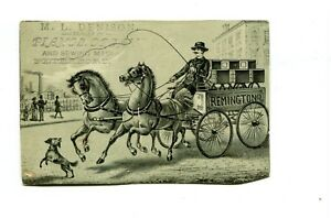 Victorian-Trade-Card-ML-DENISON-PIANO-ORGAN-SEWING-MACHINE-Peterboro-horse-wagon