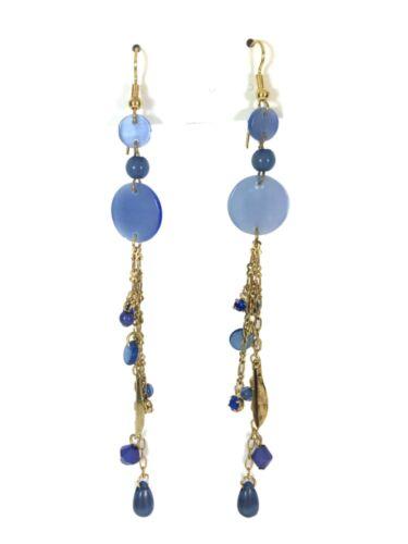 Très Long Drop Blue /& Gold Tone Chaîne Boucles d/'oreilles