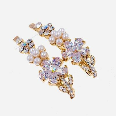 USA SELLER Rhinestone Crystal Hair Clip Bobby pin claw Flower long Gold Clear