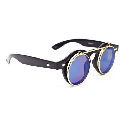 Blau Aufklappen Kreis Steampunk Brillen Retro Cyber Sonnenbrillen Gb Schwarz