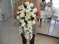 Wedding Bouquet Has Ivory Roses , Wisteria, Pearls Free Boutinieres