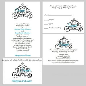 Image Is Loading 100 Personalized Custom Disney Carriage Cinderella Wedding Invitations