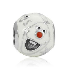 Fine White Paint Snowman Macroporous Charms Bead For sterling Bracelet Chain