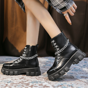 Womens Lace Up Ankle Boots Chunky Platform Ladies Zip Goth Punk Booties Shoes
