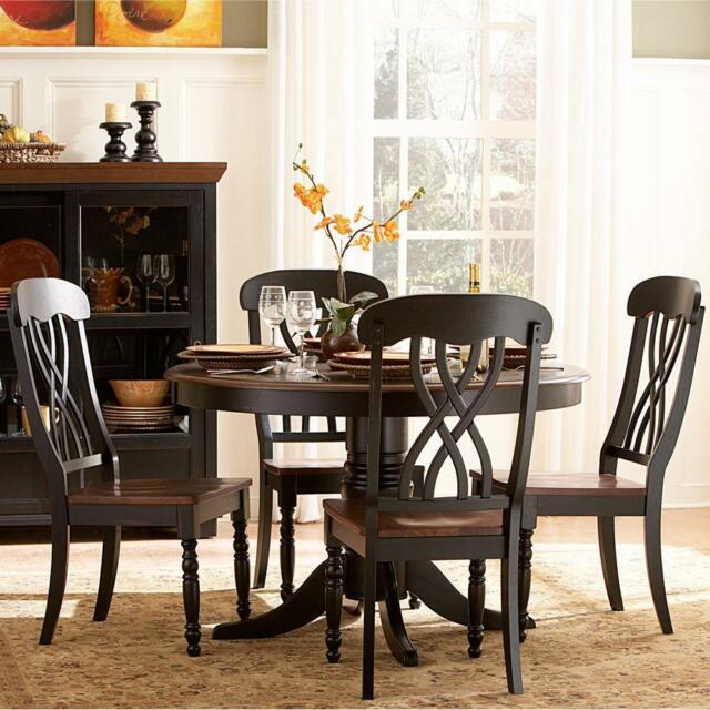 Wood Dining Set Antique Black Kitchen Round Table And Chairs 5 Piece Cherry New