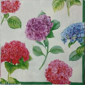HYDRANGEAS MULTICOLOR TWO(2) single LUNCH size paper napkins for decoupage 3-ply