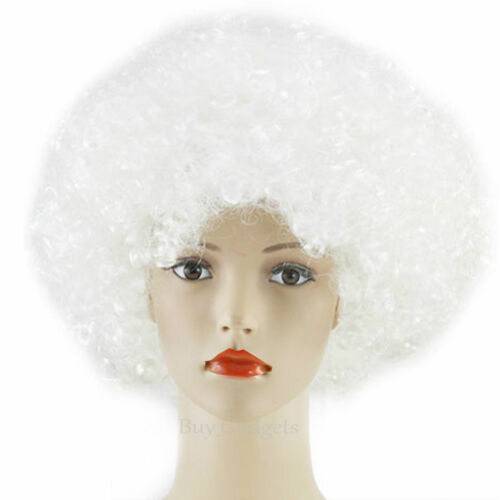 Womens Mens Curly Afro Fancy Dress Wigs Funky Disco Clown Style Costume