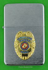 MARINE CORPS MILITARY POLICE WIND PROOF LIGHTER IN A GIFT BOX  USMC MP BC116