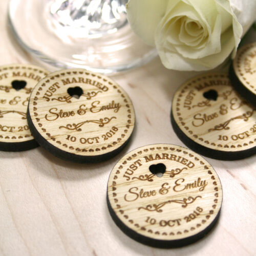 Personalised Rustic Wooden Just Married Wedding Favours Table Confetti