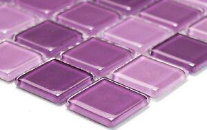Das Bild Wird Geladen Mosaik Fliese Glasmosaik Mix Lila Wand Duschwand Bad