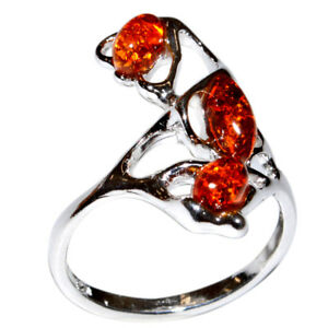4-03g-Authentic-Baltic-Amber-925-Sterling-Silver-Ring-Jewelry-N-A7372A