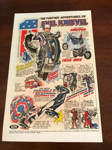 CHOPPER 1976 VINTAGE 6X10 COMIC TOY PRINT AD FOR IDEAL EVEL KNIEVEL STUNT CYCLE