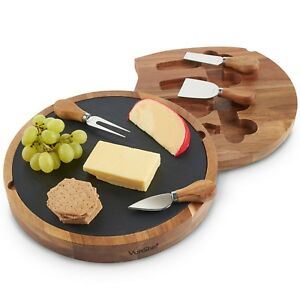 VonShef Wooded Cheese Board Set Specialist Knives Slide Out Serving Platter