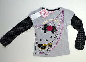 CHARMMY-KITTY-T-SHIRT-MANCHES-LONGUES-GRIS-ET-NOIR-A-POIS-6-ANS-NEUF