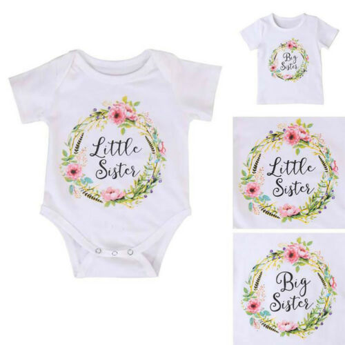 KM/_ Baby Kids Girl Little Big Sister Matching Clothes Romper Outfits T Shirt