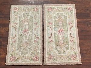2-1X2-Hand-Hooked-Area-Rugs-Set-Small-1-1x2-2-Oriental-Wool-Carpet-Lot-Pair