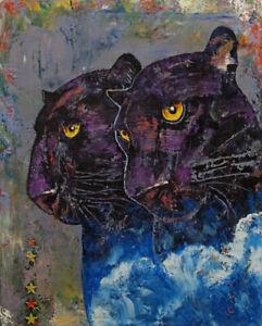 BLACK-PANTHERS-16x20-034-Oil-Painting-Panther-Leopard-Big-Cat-Original-Art-M-Creese