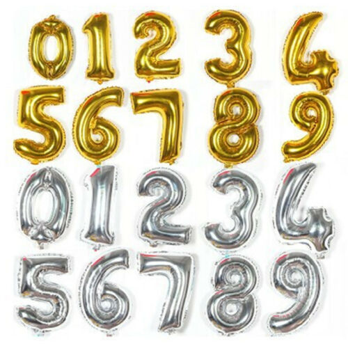 40cm Cute Silver//Gold Numbers Letters Foil Balloons Birthday Decoration Ballon