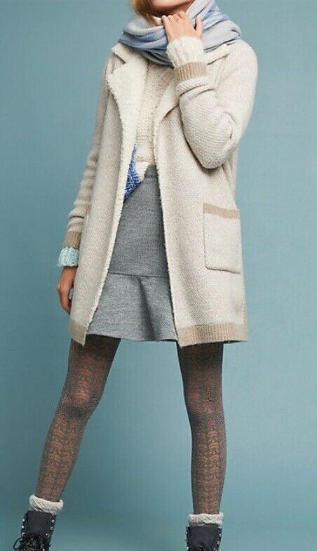 NWT Anthropologie Sleeping On Snow Marled Sherpa Sweater Coat XL NEW Ivory