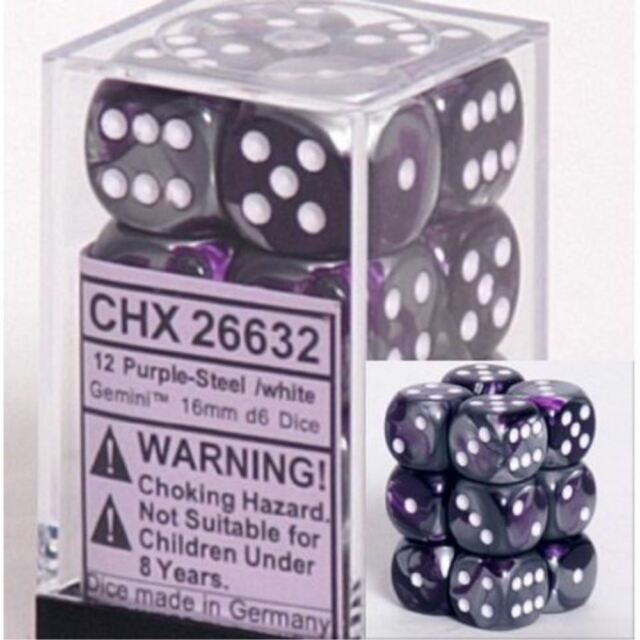 Chessex Dice d6 Sets Opaque Black with White 36 12mm Six Sided Die CHX 25808