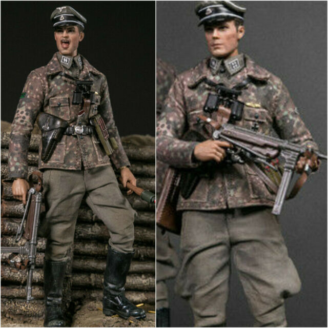 In Stock 1//12 DAMTOYS PES003 WWII SS-Panzer-Division Sturmbannführer W//Two Heads