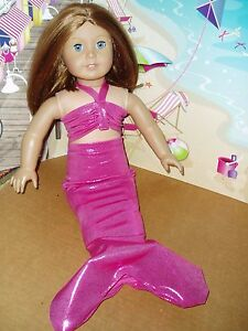 Hot-Pink-Mermaid-Outfit-Fits-American-girl-dolls-18-inch-Doll-Clothes-Costume