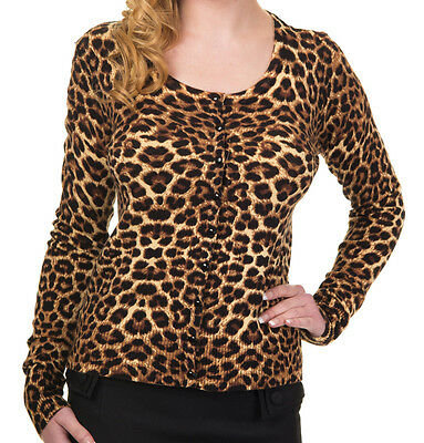 Leo Cardigan by Banned Rockabilly 50s Animal Print Leopard Top 10 12 14 BROWN