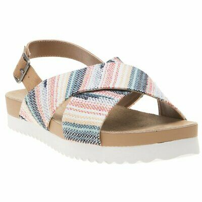 New Womens Rocket Dog Multi Tan Lorra Textile Sandals Flats Buckle Straps