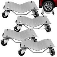 Set Of (4) Auto Dolly Wheel Tire 12x16 Skate Castor Silver Slide 1500lbs/pc
