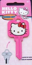 SC1 HOUSE KEY BLANK - HELLO KITTY PINK for SCHLAGE lock. Made in  USA
