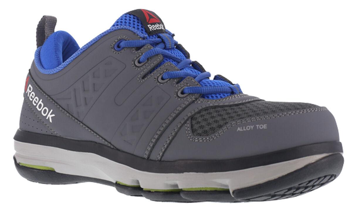 Reebok Work Men's DMX Flex Work RB3604 Alloy Toe shoes Grey bluee Athletic Oxford