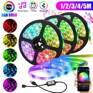 5V-USB-LED-Strip-Lights-TV-Back-Light-5050-RGB-Color-Change-Bluetooth-APP-Remote
