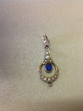 FREE SHIPPING!! VINTAGE ANTIQUE ORNATE GOLD PLATED PEARL & BLUE STONE PENDANT