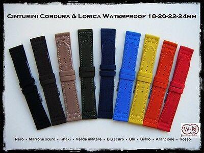 Cinturini Cordura & Lorica waterproof; misure: 18-20-22-24mm