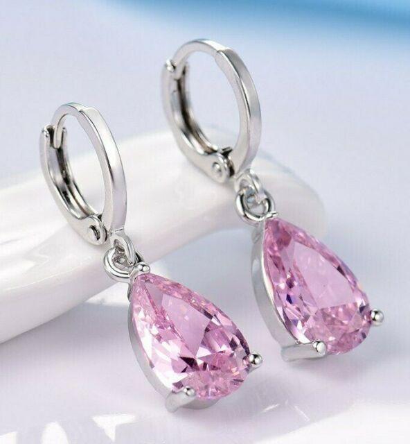 Gorgeous Teardrop Cut Pink Topaz Swarovski Crystal Dangle/Drop Earrings Jewelry