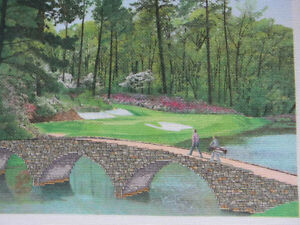 Completed-Colorart-Cross-Stitch-THE-12TH-AT-AUGUSTA-Golf-Masters-14X18-JCA-New