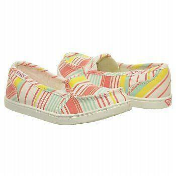 """White Multi striped moc-toe loafer WAS $40! NEW Girl/'s Roxy /""""Lighthouse/"""""""