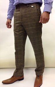 Mens Designer Trousers Marc Darcy Tweed Herringbone Checked Work Wedding Wear