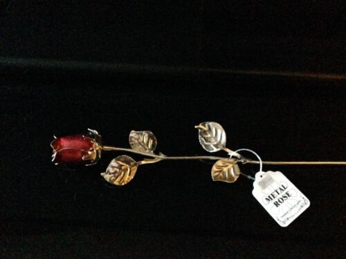 I LOVE YOU VERSE RED ROSE ENAMEL SILVER METAL LEAVES GIFT BIRTHDAY ANNIVERSARY