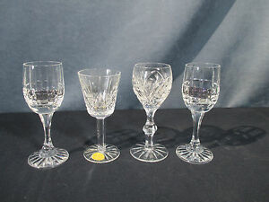 Cordial-Glasses-Lead-Crystal-Cut-Glass-Bohemia-3-Designs-Lot-of-4-Label-Sherry