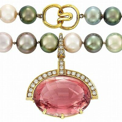 Tahitian Gray Cultured Pearl and Freshwater Pearl Necklace with Gold,... Lot 770