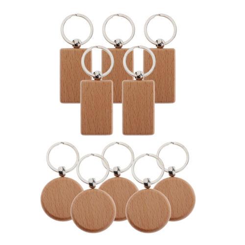 10 Stück Blank Holz Schlüsselanhänger Schlüsselhalter Schlüsselbund