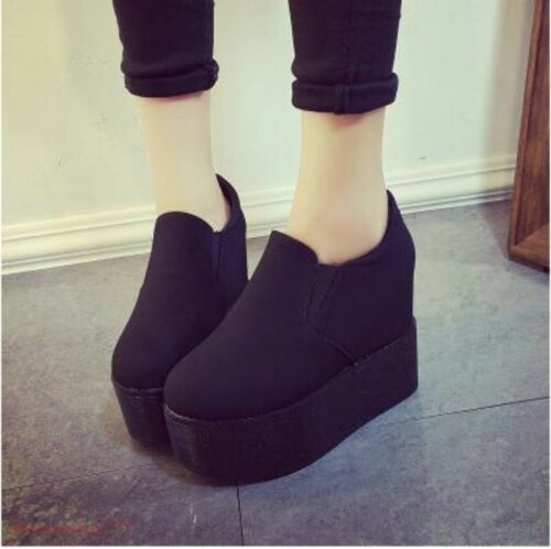 Women/'s Platform Slip On Round Toe High Wedge Casual Shoes Creeper Sneakers
