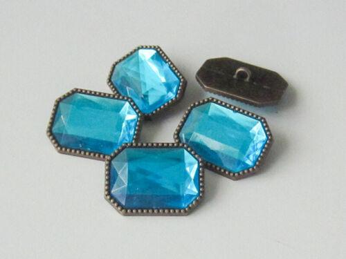3 funkelnde Schmuckknöpfe 5453bl eckige Form in altmessing /& blau